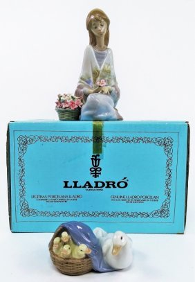 """Lladro #7607 """"flower Song"""" 1988 #4895 Mother Duck"""