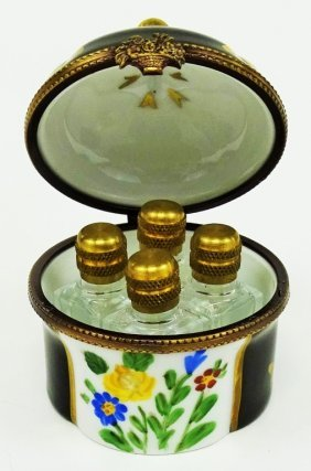 Limoges Painted Porcelain Miniature Perfume Casket