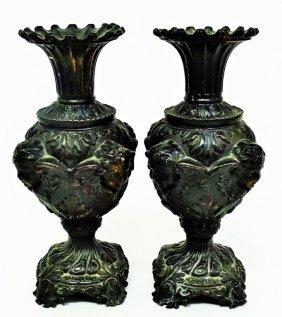 Pair Of Italian Spelter Cherub Vases