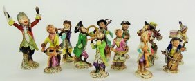 Antique 13 Pc Dresden German Monkey Band Figurines