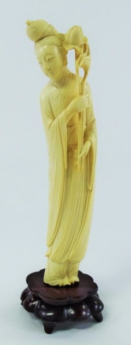 Tall Chinese Hand Carved Ivory Blossom Lady