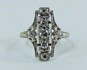 Deco Platinum And Diamond Ladies Ring