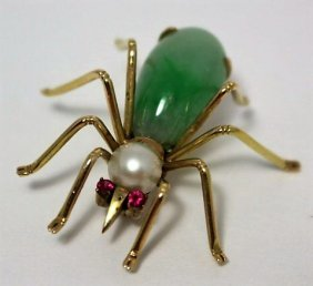 14kt Yellow Gold Jadeite Pearl & Ruby Spider Pin