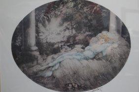 Louis Icart Print Woman Laying Down