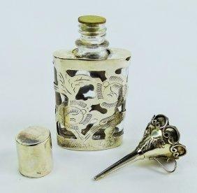 Vintage Sterling Overlay Perfume Bottle W/ Pourer
