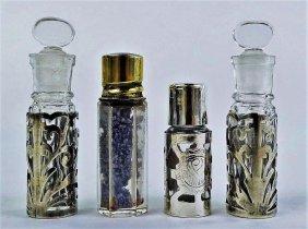 Four Vintage Perfume Bottles Silver Overlay