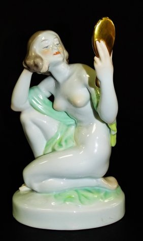 Large Herend Nude W/ Mirror Hand Painted Porcelain