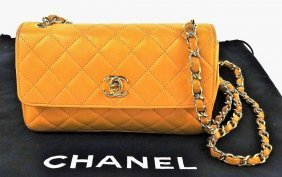 Vitage Chanel Quilted Tan Leather Flap Shoulder Bag