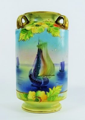 Nippon Porcelain Hand Painted Vase