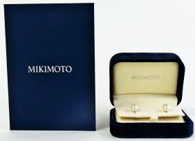 Mikimoto 18kt White Gold & Pearl Stud Earrings