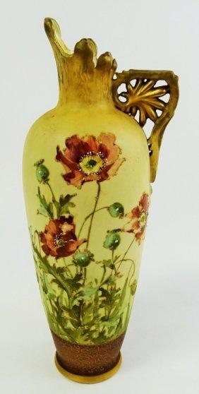 Tall Telpitz Hand Painted Porcelain Ewer Austria