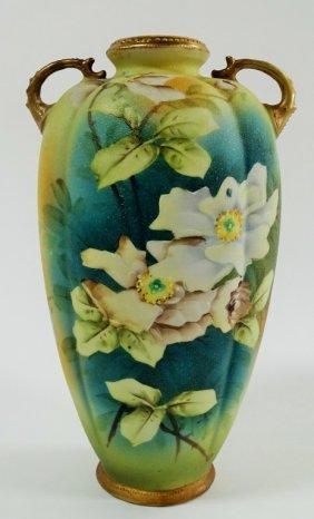 Japanese Porcelain Coralene Double Handled Vase