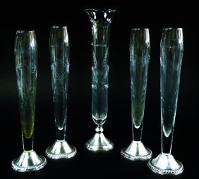 Lot Of 5 Etched Glass Bud Vases W/sterling Bases