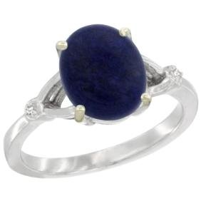 Natural 2.51 Ctw Lapis & Diamond Engagement Ring 10K