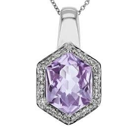 14K White Gold 4.98CTW Amethyst Necklaces - REF-57A2N