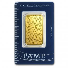 One Pc. 1 Oz .9999 Fine Gold Bar - Pamp Suisse New