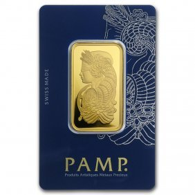 One Pc. 1 Oz .9999 Fine Gold Bar - Pamp Suisse Lady