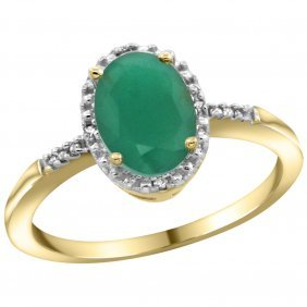 Natural 1.5 Ctw Emerald & Diamond Engagement Ring 10k