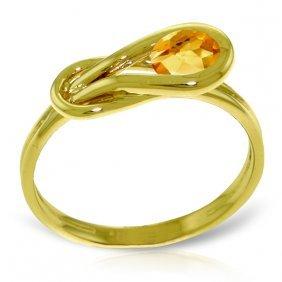 Genuine 0.65 Ctw Citrine Ring Jewelry 14kt Yellow Gold