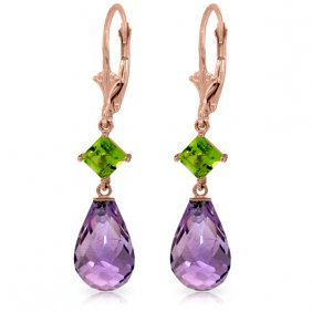 Genuine 11 Ctw Amethyst & Peridot Earrings Jewelry 14kt