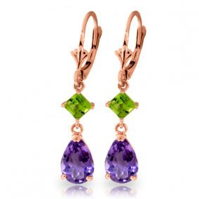 Genuine 4.5 Ctw Amethyst & Peridot Earrings Jewelry