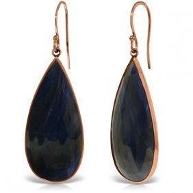 Genuine 42 Ctw Sapphire Earrings Jewelry 14kt Rose Gold