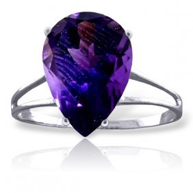 Genuine 5 Ctw Amethyst Ring Jewelry 14kt White Gold -