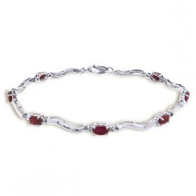 Genuine 2.01 Ctw Ruby & Diamond Bracelet Jewelry 14kt