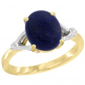 Natural 2.51 Ctw Lapis & Diamond Engagement Ring 10k