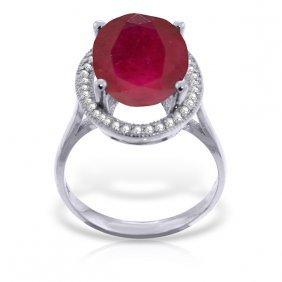 Genuine 7.93 Ctw Ruby & Diamond Ring Jewelry 14kt White