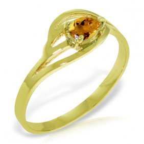 Genuine 0.3 Ctw Citrine Ring Jewelry 14kt Yellow Gold -