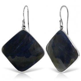 Genuine 43.5 Ctw Sapphire Earrings Jewelry 14kt White