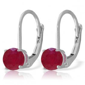 Genuine 1.2 Ctw Ruby Earrings Jewelry 14kt White Gold -