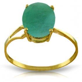 Genuine 2.9 Ctw Emerald Ring Jewelry 14kt Yellow Gold -