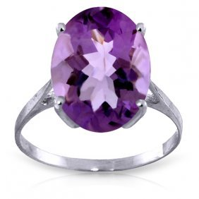 Genuine 7.55 Ctw Amethyst Ring Jewelry 14kt White Gold