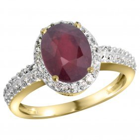Natural 2.3 Ctw Ruby & Diamond Engagement Ring 14k