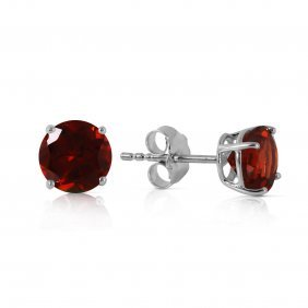 Genuine 0.95 Ctw Garnet Earrings Jewelry 14kt White