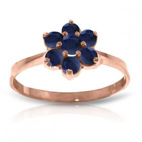 Genuine 0.66 Ctw Sapphire Ring Jewelry 14kt Rose Gold -