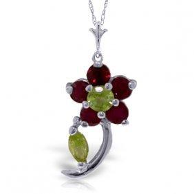 Genuine 0.87 Ctw Peridot & Ruby Necklace Jewelry 14kt