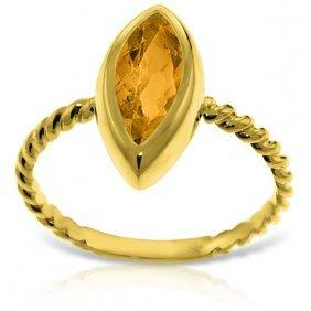Genuine 1.7 Ctw Citrine Ring Jewelry 14kt Yellow Gold -