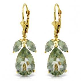 Genuine 13 Ctw Green Amethyst Earrings Jewelry 14kt