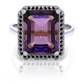Genuine 5.8 Ctw Amethyst & Black Diamond Ring Jewelry