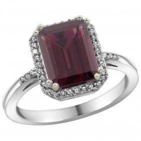 Natural 2.63 Ctw Rhodolite & Diamond Engagement Ring