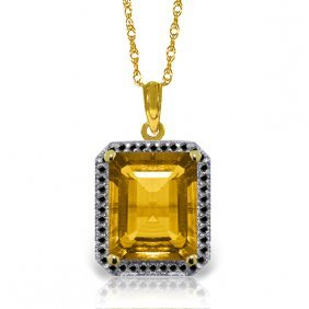 Genuine 5.4 Ctw Citrine & Black Diamond Necklace