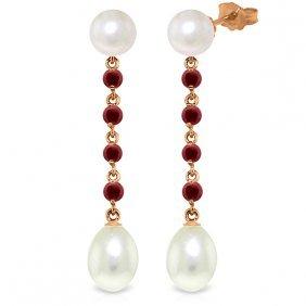 Genuine 11 Ctw Pearl & Ruby Earrings Jewelry 14kt Rose