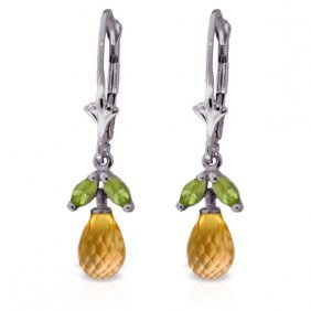 Genuine 3.4 Ctw Citrine & Peridot Earrings Jewelry 14kt