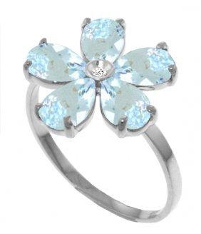 Genuine 2.22 Ctw Aquamarine & Diamond Ring Jewelry 14kt