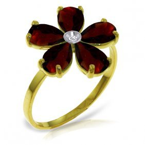Genuine 2.22 Ctw Garnet & Diamond Ring Jewelry 14kt