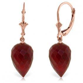 Genuine 26.1 Ctw Ruby Earrings Jewelry 14kt Rose Gold -
