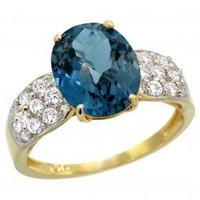 Natural 2.75 Ctw London-blue-topaz & Diamond Engagement